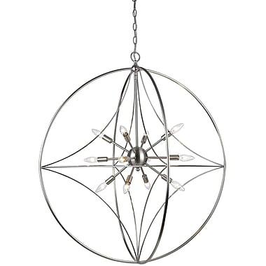 Brayden Studio Silvester 12-Light Globe Pendant; Brushed Nickel