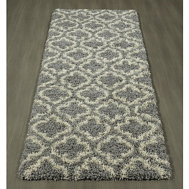 Charlton Home Shebeen Floral Gray/White Indoor/Outdoor Area Rug; 2'7'' x 7'