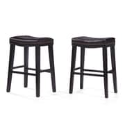 Darby Home Co Reyes 30'' Bar Stool (Set of 2); Leather - Brown