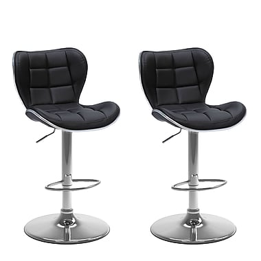 CorLiving – Ensemble de 2 tabourets de bar à hauteur de siège réglable de 25 à 33 po en cuir reconstitué, noir (DPU-902-B)