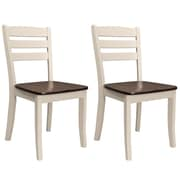 CorLiving Dillon Solid Wood Dining Chairs in Dark Brown Stain and Cream Finish, Set of 2 (DSH-170-C)