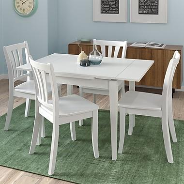 CorLiving – Ensemble 5 pièces de salle à manger en bois Dillon avec table extensible, blanc (DSH-210-Z2)