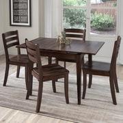CorLiving – Ensemble 5 pièces de salle à manger en bois massif teinté Dillon avec table extensible, cappuccino (DSH-290-Z1)