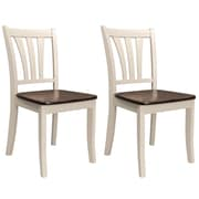CorLiving Dillon Solid Wood Dining Chairs in Dark Brown Stain and Cream Finish, Set of 2 (DSH-370-C)