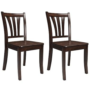 CorLiving – Chaise de salle à manger Dillon en bois massif, cappuccino teint, 2/paquet (DSH-390-C)