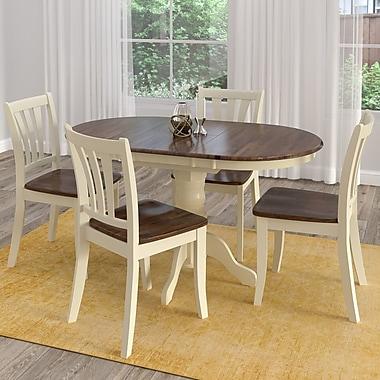 CorLiving – Ensemble 5 pièces de salle à manger en bois massif Dillon avec table extensible, brun foncé et crème (DSH-470-Z2)
