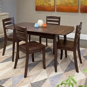 CorLiving – Ensemble 5 pièces de salle à manger en bois massif Dillon avec table extensible, cappucino (DSH-690-Z1)