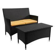 CorLiving – Ensemble de patio Cascade avec canapé et table basse, jaune coucher de soleil (PCD-401-S)