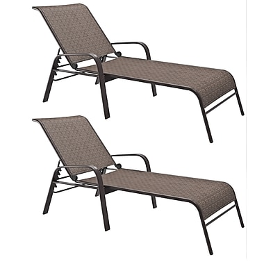 CorLiving – Ensemble de 2 chaises longues de patio inclinables Gallant en filet, brun (PZT-288-R)