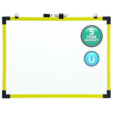 Quartet® Industrial Magnetic Whiteboard, Plastic Frame, 3' x 2', Yellow Frame