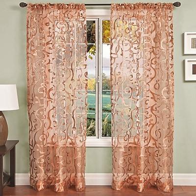 Fleur De Lis Living Brummett Nature/Floral Sheer Single Curtain Panel; Brush Gold