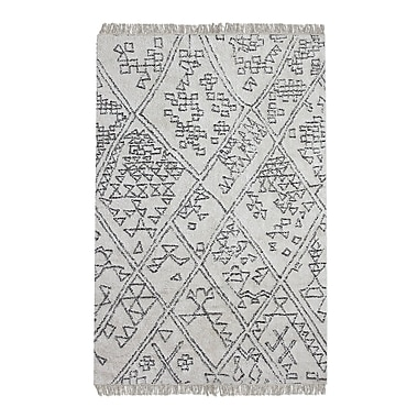 Gracie Oaks Reims Hand-Tufted Cotton Ivory Area Rug; 5' x 8'