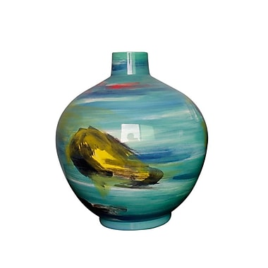 Latitude Run 13'' Blue Decorative Ceramic Table Vase; 11.75'' H x 10.5'' W x 10.5'' D