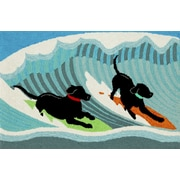 Highland Dunes Climsland Surfing Dogs Doormat
