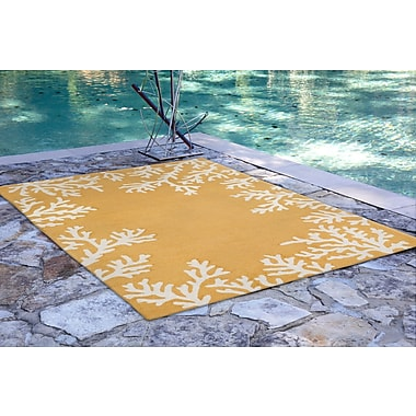 Highland Dunes Claycomb Coral Border Hand-Tufted Yellow Indoor/Outdoor Area Rug