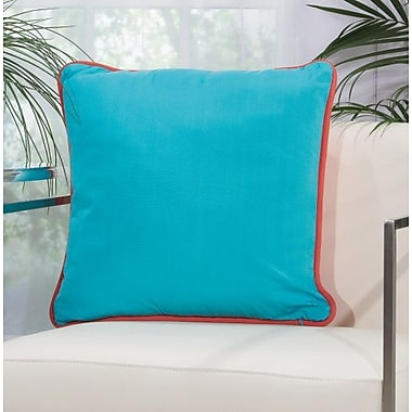 Highland Dunes Burleigh 2 Sided Solid Corded Outdoor Acrylic Throw Pillow; Coral Turquoise