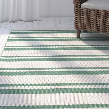 Highland Dunes Coralie Hand-Woven Emerald Rug; 5' x 7'6''