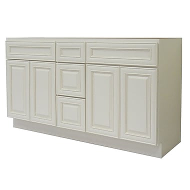 NGY Stone & Cabinet Cabinet 60'' Double Bathroom Vanity Base