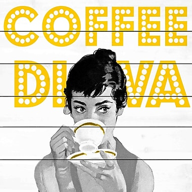 Marmont Hill 'Coffee Diva' Painting Print on White Wood; 18'' H x 18'' W