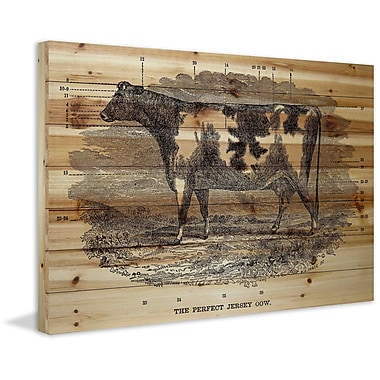 Marmont Hill 'Perfect Cow' Painting Print on Natural Pine Wood; 16'' H x 24'' W