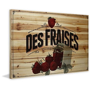 Marmont Hill 'French Produce Strawberry' Painting Print on Natural Pine Wood; 12'' H x 18'' W