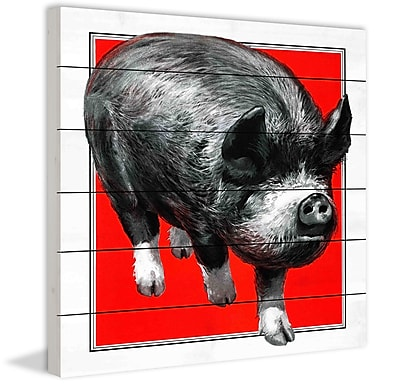 Marmont Hill 'Journal Pig' Painting Print on White Wood; 24'' H x 24'' W