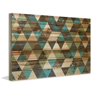 Marmont Hill 'Tans and Blues' Painting Print on Natural Pine Wood; 16'' H x 24'' W