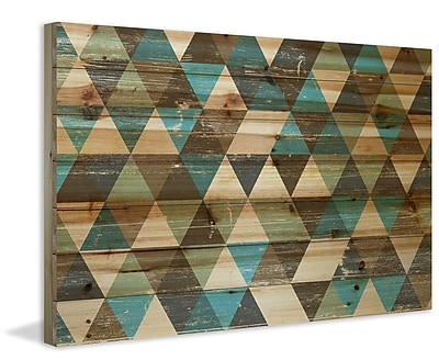 Marmont Hill 'Tans and Blues' Painting Print on Natural Pine Wood; 12'' H x 18'' W