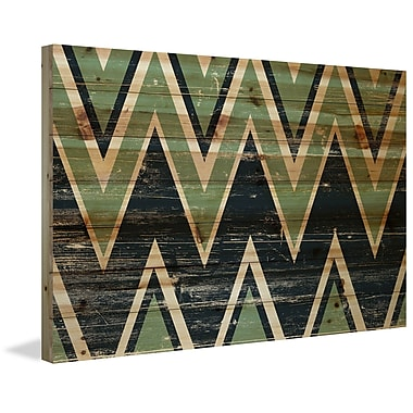 Marmont Hill 'Green Black Zigs' Painting Print on Natural Pine Wood; 16'' H x 24'' W