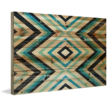 Marmont Hill 'Blue Green Vortex' Painting Print on Natural Pine Wood; 12'' H x 18'' W