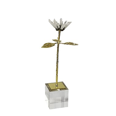 Rosdorf Park 13'' Stone and Metal Flower Sculpture; 13.75'' H x 5'' W x 4.5'' D