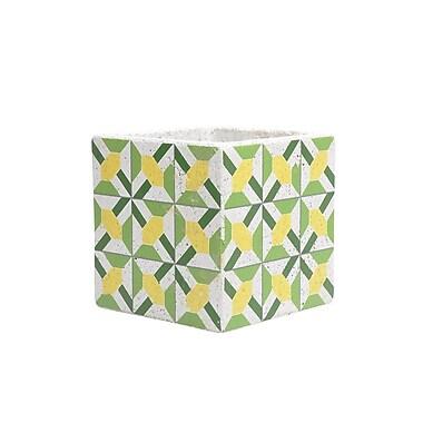 Sagebrook Home Decorative Cement Planter Box; Green/Yellow