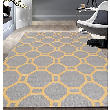 Varick Gallery Walmsley Geometric Gray/Yellow Area Rug; 5'3'' x 7'3''