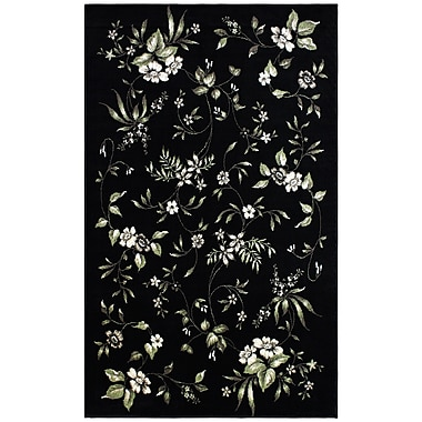 Charlton Home Anson Bloom Black Area Rug; 4' x 6'