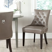 Willa Arlo Interiors Mcdaniel Ring Genuine Leather Upholstered Dining Chair (Set of 2); Clay