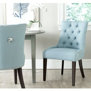 Willa Arlo Interiors Mcdaniel Ring Genuine Leather Upholstered Dining Chair (Set of 2); Light Blue