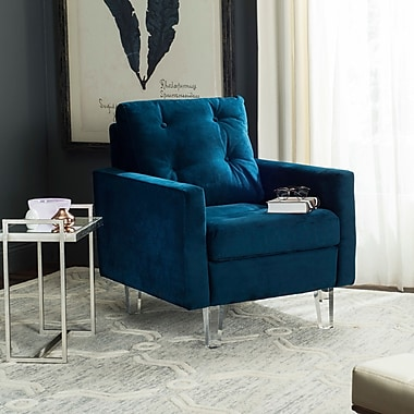 Willa Arlo Interiors Reed Armchair; Navy/Clear