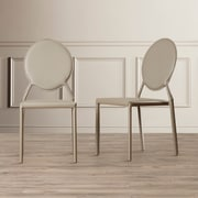 Willa Arlo Interiors Barnabas Side Chair (Set of 2); Bonded Leather+Sponge - Gray
