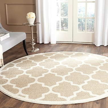 Willa Arlo Interiors Maritza Wheat/Beige Woven Area Rug; Round 9'
