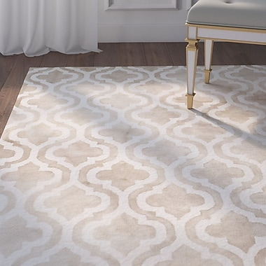 Willa Arlo Interiors Blakeston Hand-Tufted Beige/Ivory Area Rug; 5' x 8'