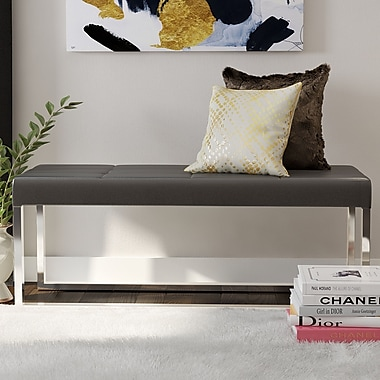 Willa Arlo Interiors Bourke Upholstered Bench; Gray