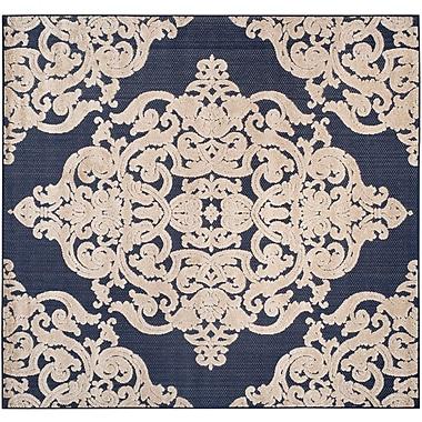 Willa Arlo Interiors Mira Medallion Navy Indoor/Outdoor Area Rug; Square 6'7'' x 6'7''
