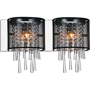 CrystalWorld Renee 2-Light Design Wall Light; Black