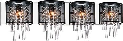 CrystalWorld Renee 4-Light Design Wall Light; Black