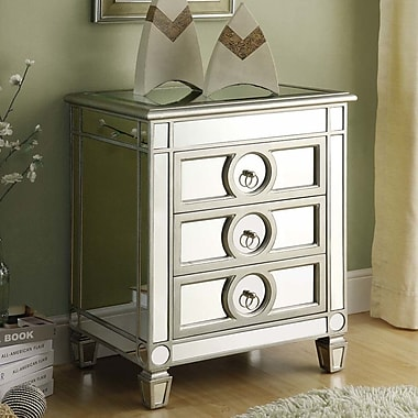 Willa Arlo Interiors Hall Mirrored 3 Drawer Accent Chest