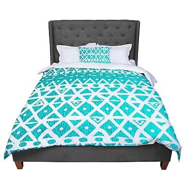 East Urban Home Nika Martinez Aquamarine Tribal Comforter; Queen