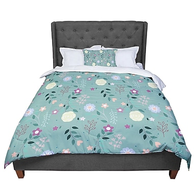 East Urban Home Louise Flora Flowers Comforter; Twin