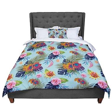 East Urban Home Nika Martinez Tropical Floral Flowers Comforter; Queen