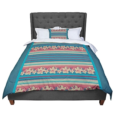 East Urban Home Nina May Mahalo Denim Stripe Floral Comforter; Twin