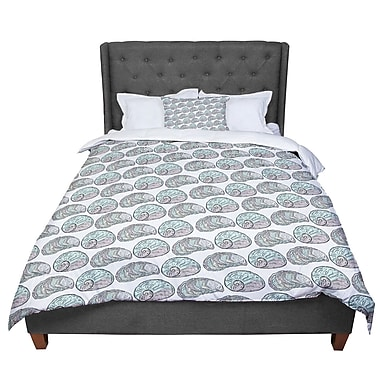East Urban Home Pom Graphic Design Retro Sea Shells Nautical Comforter; Queen